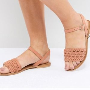 {ASOS} wide-fit leather woven sandals